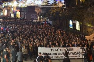 Four nights after the Jan. 18 anti-terror operation in which twelve of Turkey's leading human rights lawyers were arrested, thousands marched down Istanbul's main pedestrian avenue, Istiklal, in protest. (Julia Harte/GlobalPost)